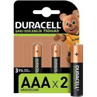 Duracell - Duracell Şarj Edilebilir AAA 750 mAh Piller 2li Paket HR03 DC2400
