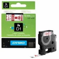 Dymo - Dymo LabelManager D1 Yedek Şerit 12 mm x 7 m Beyaz Kırmızı 45015