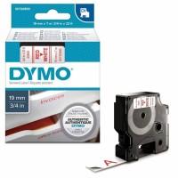 Dymo - Dymo LabelManager D1 Yedek Şerit 19 mm x 7 m Beyaz Kırmızı 45805